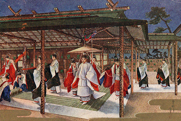 悠紀殿に渡御する昭和天皇